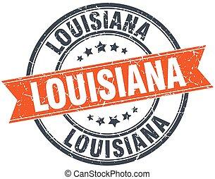 Louisiana red round grunge vintage ribbon stamp