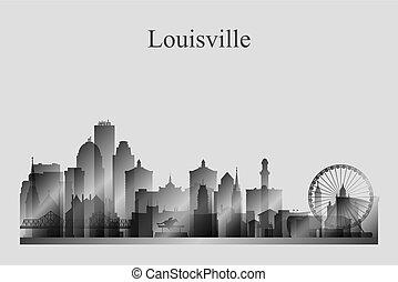 Louisville city skyline silhouette in grayscale