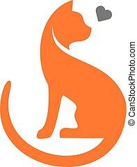 love cat vector simple logo
