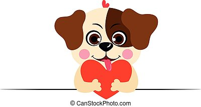 Love dog peeking holding a red heart