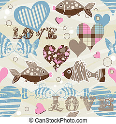 Love fish seamless pattern