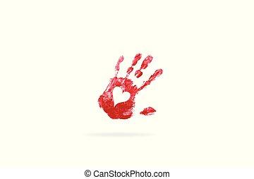 Love heart hand print logo