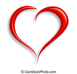 Stylized valentine heart made from two swashes and isolated on white. Vector information included along with clipping path.