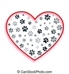 love heart with dog and cat paw prints