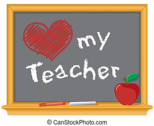 Love my teacher and red heart drawing, on wood frame blackboard, red apple and chalk.