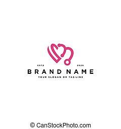 love or heart logo design vector