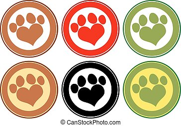 Love Paw Print Circle Banners