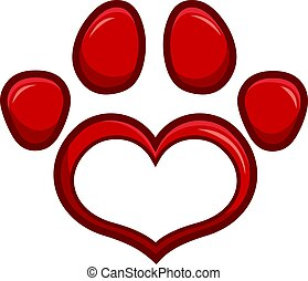 Love Paw Print Logo Design