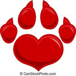 Love Paw Print Logo Flat Design