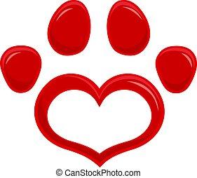 Love Paw Print Logo Flat Design.