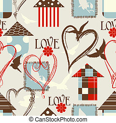 Love seamless pattern with birds, birdcages and hearts