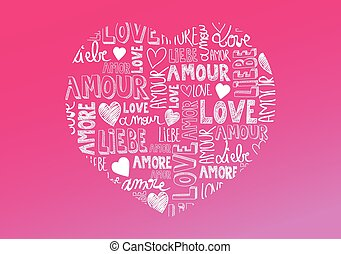 Sweet pink color heart with international love words