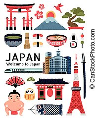 Lovely Japan cultural symbol set, delicious dishes and landmarks collection isolated on white background