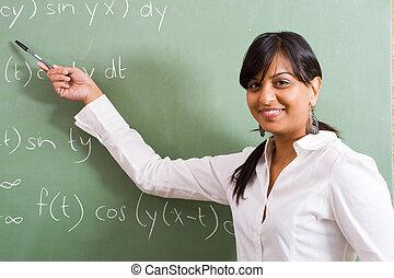 lovely maths teacher showing her class how to do sums
