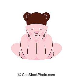 Lovely Newborn Baby in Bear Cap Sleeping Vector Illustration