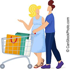 Lovely pair husband male and female wife walk supermarket trolley, mall shopping pregnant woman flat vector illustration, isolated on white.