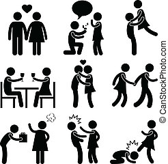 A set of pictogram showing couple life.