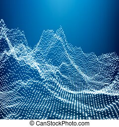 Low Poly Geometric 3D Mountain Landscape. Mountainous Terrain. Cyberspace Grid. 3D Wireframe Terrain. Mountain Design. Abstract Background with Dotted Grid. A Glowing Grid. 3D Technology Vector.