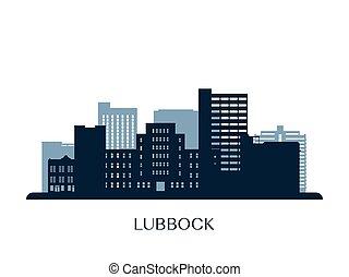 Lubbock skyline, monochrome silhouette.