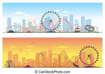 Luna park concept. Amusing entertainment amusement park colored background vector illustration. Carousel and wheel ferris, rollercoaster illustration on city background