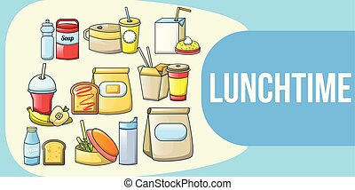 Lunchtime concept banner, cartoon style