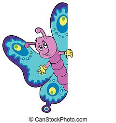 Lurking cartoon butterfly - vector illustration.