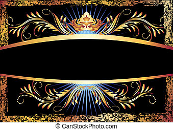 Background with luxurious copper ornament and crown