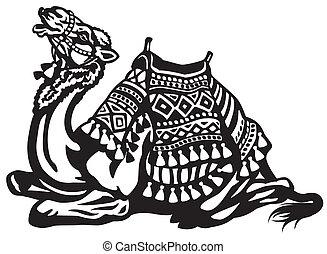 lying camel with saddle black and white illustration
