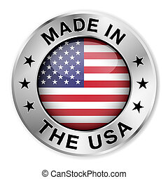 Made in The USA silver badge and icon with central glossy United States Of America flag symbol and stars. Vector EPS10 illustration isolated on white background.