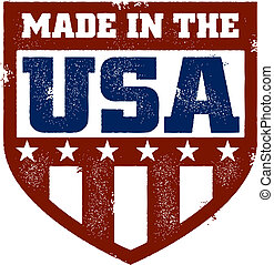 A distressed Made in the USA style stamp.