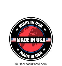 Made in USA label, vector illustration
