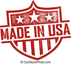 Rubber stamp style Made in USA shield.