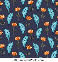 Magic floral pattern with cute orange flowers