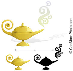 Magic lamp. No transparency used. Basic (linear) gradients.