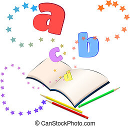 Open book with colorful stars and letters bursting out of it