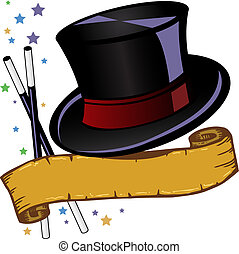 Magic theme top hat and banner vector illustration all parts are editable