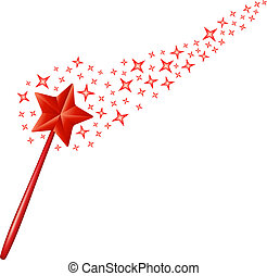 Magic wand with stars in red design on white background