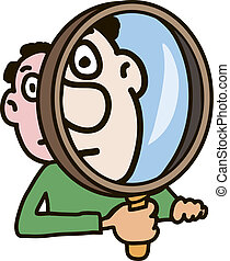 The man carefully watches something through a magnifying glass