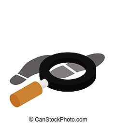 Magnifying glass and shoe print out isometric 3d icon on a white background
