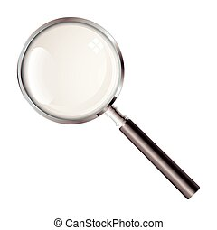 Black handled magnifying glass with light reflection and silver rim