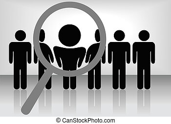 A magnifying glass finds, selects or inspects a person in a line of silhouette people: search & choose for employment, recognition, promotion, hire, etc.