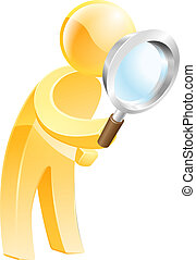 An illustration of a gold man looking down through a magnifying glass