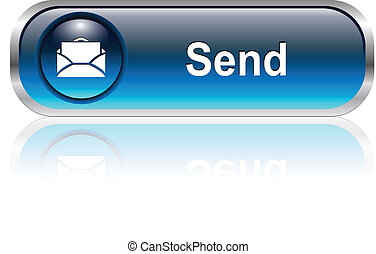 Contact us, mail icon, button, blue glossy with shadow