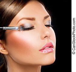 Make-up applying. Eye shadow brush