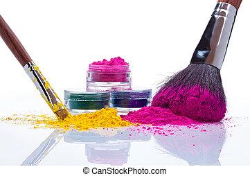 Make up powder and brushes