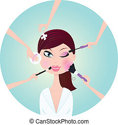 Beautiful woman in beauty salon. Mascara, blush sponge, powder and eye shadows - best way for perfect look! Stylized vector illustration.