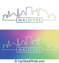 Maldives skyline. Colorful linear style.