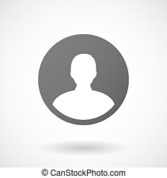 male avatar icon with shadow on white background