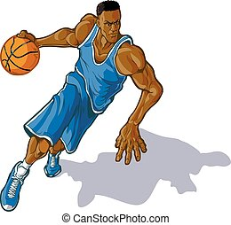 Cartoon vector clip art illustration of a African American male basketball player dribbling. Uniform can be changed to any color in vector file.