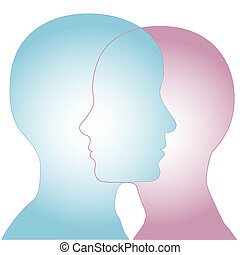 Profiles of a couple of people merge as overlapping faces to illustrate sex and gender issues.